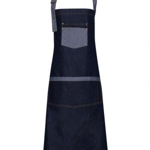 embroidered denim contrast apron