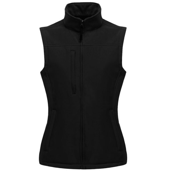 These Regatta full length covered zip flux softshell bodywarmers are available in four different colours. We can custom embroider your brand name or company logo on the front of these shaped fit, lightweight and quick drying softshells. These branded womens bodywarmers with two front zip pockets and one right chest pocket are ideal for your corporate workwear or company uniform collection!
