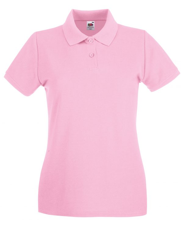 These lady's fit premium polo tops can be customised with embroidery or print making these an ideal option for your company workwear, uniform or club gear! These branded lady's polo t-shirts are available in a range of sizes and super stand out colours!