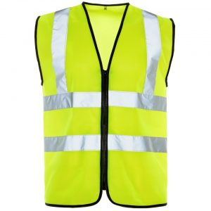 Custom printed hi visibility yellow zipped vest with your brand name or company logo