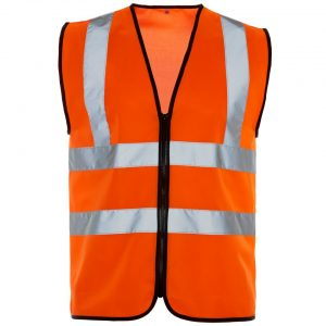 Custom printed zipped hi visibility zipped vest with your brand name or company logo