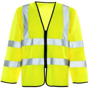 Custom printed yellow hi visibility long sleeve zipped vest with your brand name or company logo