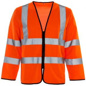 Customised hi vis orange long sleeve vest with your brand name or company logo printed
