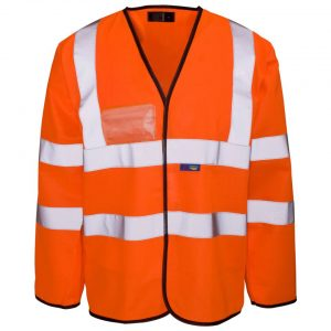 Customised Hi Vis Orange long sleeve vest with your company name and brand logo printed