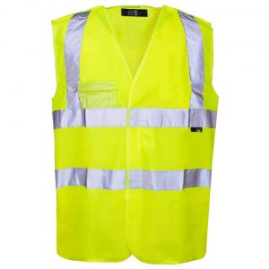 Customised hi vis pull apart vest with your company name or logo printed