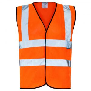 Custom printed hi visibility orange vest with your brand name or company logo