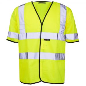 Customised hi visibility yellow short sleeve vest with your brand name or company logo