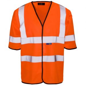 Customised orange hi visibility short sleeve vests with logo and enhanced visibility