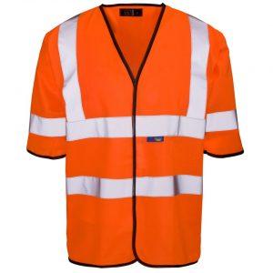 Customised orange hi visibility short sleeve vests with logo and enhanced visibility