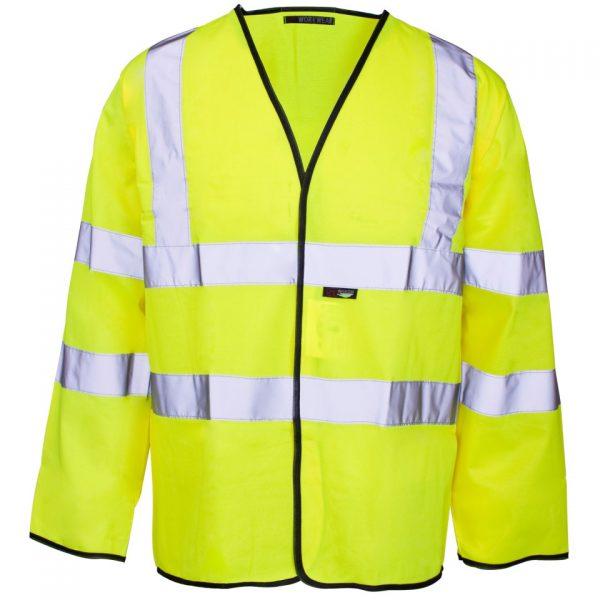 Custom printed hi vis yellow long sleeve vest with velcro