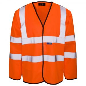 Custom printed hi vis orange long sleeve vests with velcro
