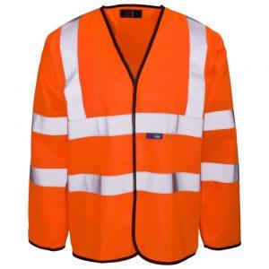 Custom printed hi vis orange long sleeve vests with velcro