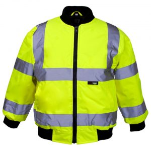 printed junior bomber jacket hi visibility with logo