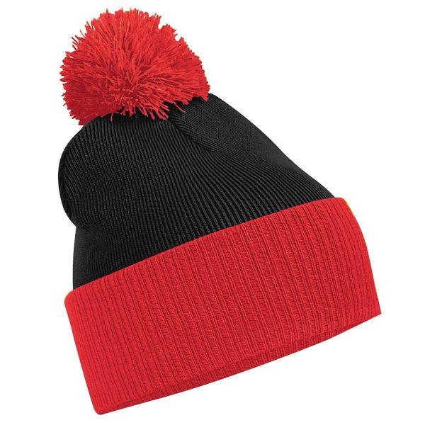 This contrast pom pom two tone beanie with ribbed cuff is available in a range of colours for your company or club! Your company or club logo or name can be custom embroidered on the front of these double layered knitted dual style- cuffed or slouch beanie. These branded beanies are a great addition to your company workwear/uniform range or club gear!
