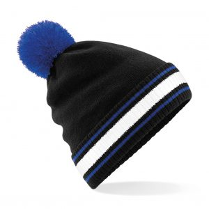 This contrasting pom pom and striped cuff is available in a great range of classic colour combinations. Your brand (logo or name) embroidered on the front of these beanies are a great option for your business, company workwear/uniform or club collection! Stand out from the crowd this Autumn/Winter with these customised Pom Pom beanies!