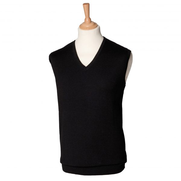 This Henbury mens sleeveless V-neck sweater is available in a range of sizes and two great colours to suit your requirements! We can custom embroider your company logo or brand name, making these branded sleeveless V-neck sweaters a great option for your corporate workwear, club or company uniform collection!