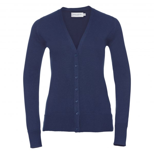 This easy care, classic fit ladies V-neck cardigan is available in a range of sizes and five great colours to suit your requirements! We can custom embroider your company logo or brand name, making these branded ladies cotton blend knitted cardigans a great option for your corporate workwear or company uniform collection!