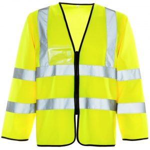 Custom printed hi vis yellow long sleeve vests with ID Pocket and your brand name or company logo printed