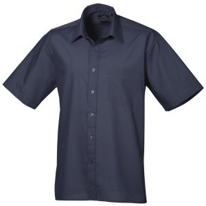 Custom embroidered men's short sleeve shirt with your brand name or company logo embroidered