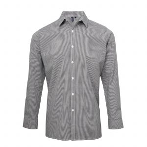 This mens microcheck gingham long sleeve cotton shirt is available in four great colours and a range of sizes. You choose the colour and we will custom embroider your brand name and company logo. These branded fitted style microcheck men's shirts are another great option for your corporate workwear or company uniform collection.