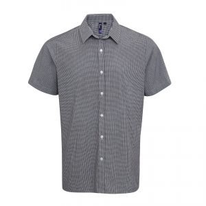 Custom embroidered men's microcheck short sleeve shirt with your brand name or corporate logo