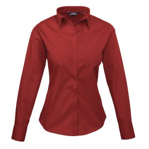 This ladies long sleeve poplin shirt is available in super stand out colours (thirty colours in the range) and a great range of sizes too! You choose the colour and we will custom embroider your brand name or company logo. This branded ladies long sleeve shirt is a smart addition to your corporate workwear or company uniform collection!