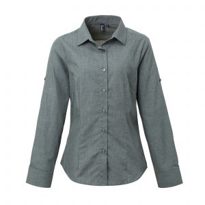 This ladies fitted poplin cross-dye roll sleeve shirt available in a grey denim and indigo denim. You choose the denim colour and we will custom embroider your brand name or company logo. These branded fitted denim shirts with roll up sleeves are an alternative shirt option for your corporate workwear or company uniform collection!