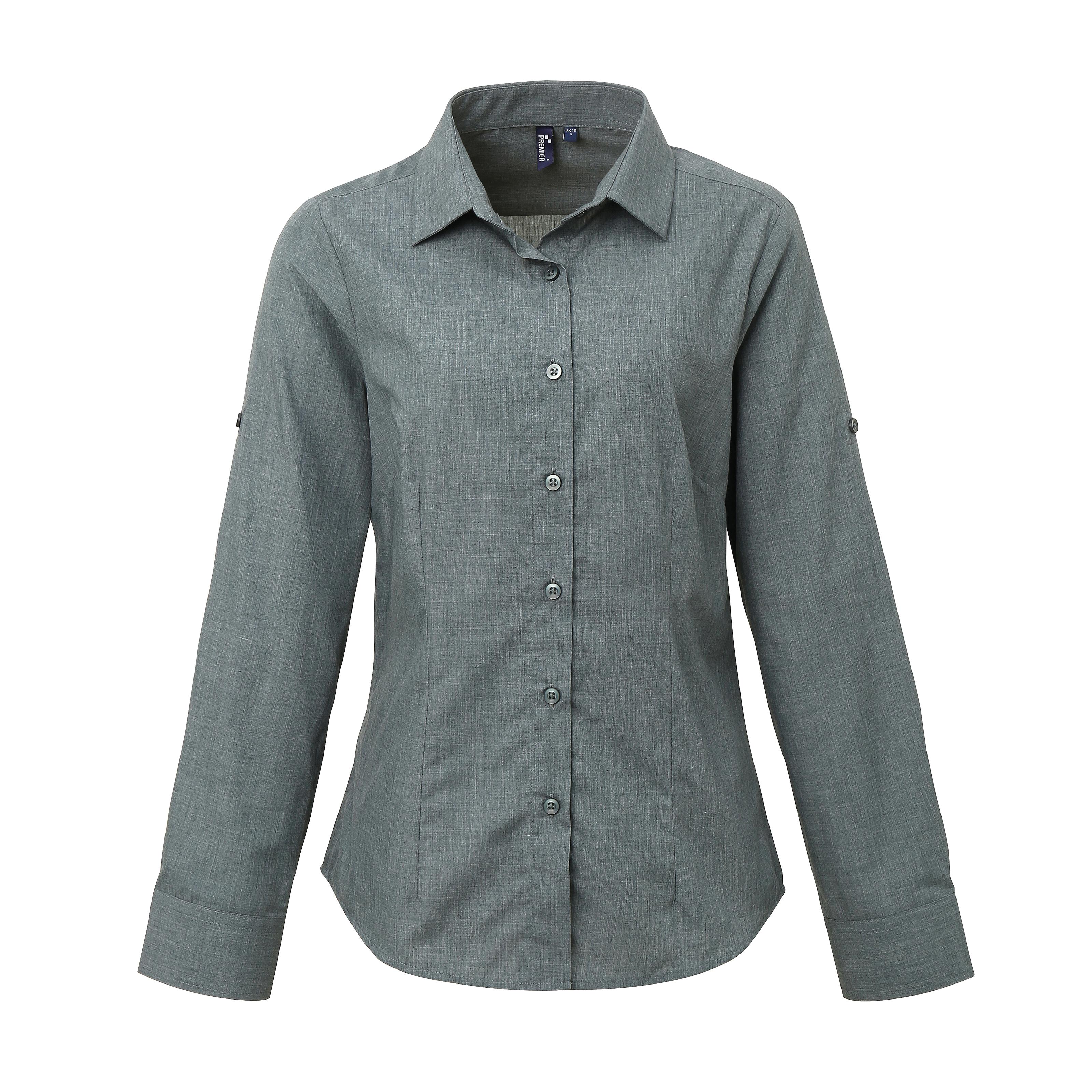 a187a1ffb1 Womens Poplin Cross-Dye Roll Sleeve Shirt (Premier)