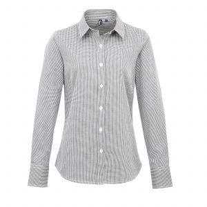 This ladies microcheck gingham long sleeve cotton shirt is available in four great colours and a range of sizes. You choose the colour and we will custom embroider your brand name and company logo. These branded fitted style microcheck ladies shirts are another great option for your corporate workwear or company uniform collection.