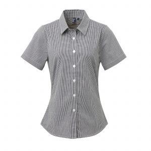 699814f9c4b Womens Microcheck Gingham Short Sleeve Cotton Shirt (Premier)