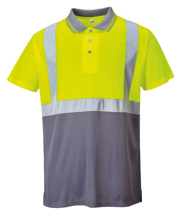 This hi vis with logo two tone polo shirt with its modern design and comfort are a great addition to your hi visibility customised workwear collection. From Portwest these two tone polo shirt with a navy and new grey contrast is ideal for warm dirty environments where hi-vis protection is required and can be custom printed with your brand name or company logo.