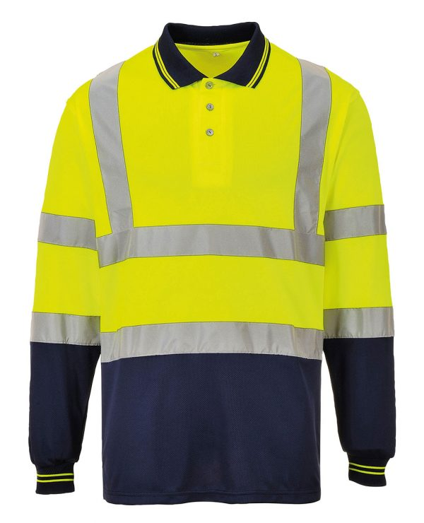 These hi visibility with logo two-tone long sleeve polo shirt are a great addition to your hi vis customised workwear collection. From Portwest these breathable light and comfortable hi vis polo shirts can be custom printed with your company name or brand logo.