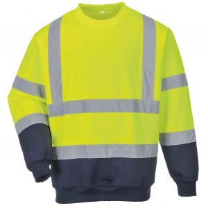 Customised hi visibility with logo printed two tone sweatshirt