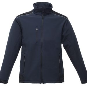 This hardwearing Regatta Sandstorm Softshell workwear jacket  is available in three colours- black, navy and seal grey. Soft Shell jackets are very popular in the modern work place  and we custom embroider your lbrand name or company logo on these durable soft shell workwear jackets. These Regatta Standstorm Softshell jackets are ideal for your corporate workwear and company uniform collection.