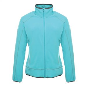 This ladies full zip, quick-drying Regatta (Ashmore) fleece jacket is available in a number of sizes and alternative colours. Whatever your business or industry sector this is an ideal fleece jacket for your corporate workwear or company uniform. We will custom embroider your logo or name onto these coloured shaped ladies fleece jackets ensuring that your branded fleece stands out from your competitors!