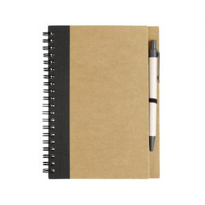 A6 eco friendly recycled notepad with matching pen, printed with your brand name or company logo