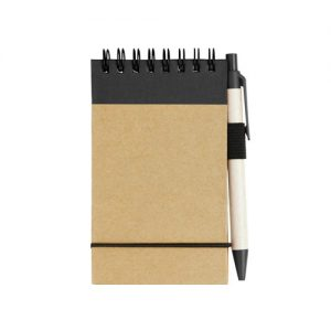 A7 recycled note pad with pen, printed with your brand name or company logo