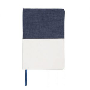 Two tone A5 canvas notebook printed with your brand name or company logo