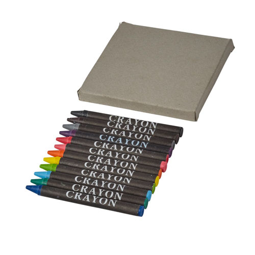 12 piece wax crayons printed with your brand name or company logo