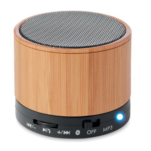 Round Bamboo Bluetooth Speaker printed with your brand name or corporate logo