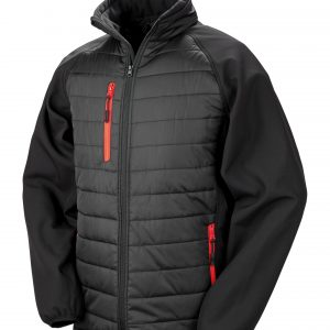Black compass padded jackets branded with your logo